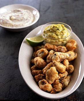 Fried Beer-Battered Mussels with Two Sauces