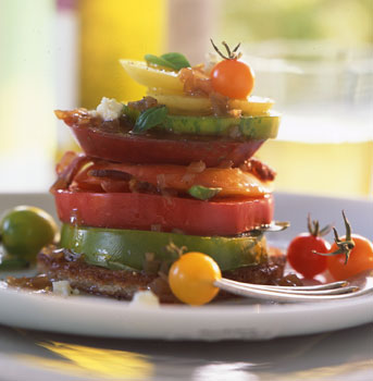 Heirloom Tomatoes with Bacon, Blue Cheese, and Basil
