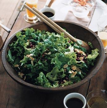 Green Leaf Lettuce, Pomegranate, and Almond Salad
