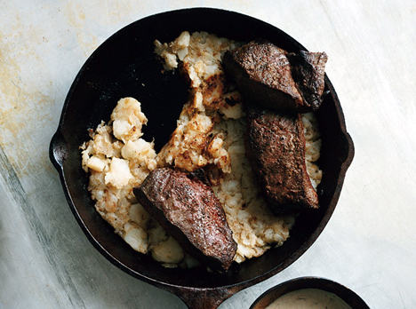 Flatiron Steaks with Creamy Juniper Sauce with Hash Browns