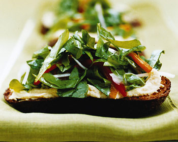 Bruschette with Chickpea Purée and Arugula