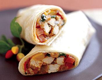 Turkey Burritos with Salsa and Cilantro