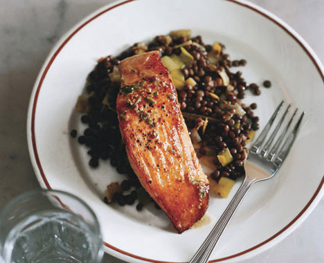 Salmon with Lentils and Mustard-Herb Butter (Saumon aux Lentilles)