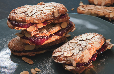 Chewy Almond-Raspberry Sandwich Cookies