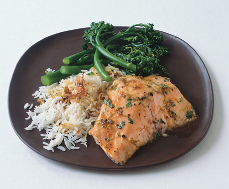 Lime- and Honey-Glazed Salmon with Basmati and Broccolini