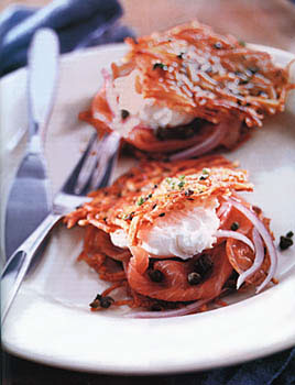 Scallion Potato Pancake and Smoked-Salmon Sandwiches