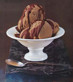 Chestnut Ice Cream with Chocolate Grand Marnier Sauce