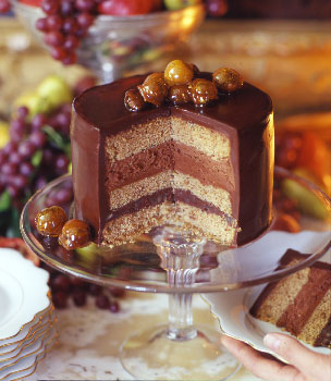 Chocolate Chestnut Torte with Chocolate Cognac Mousse