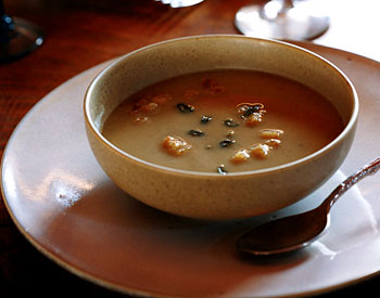 Chestnut Soup with Sourdough Sage Croutons