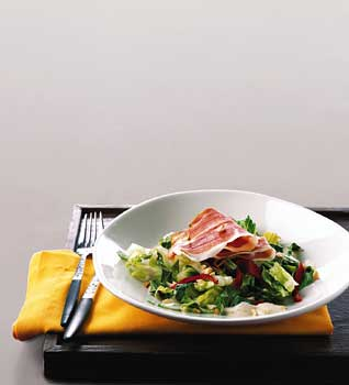 Serrano Ham Salad with Almond Garlic Sauce