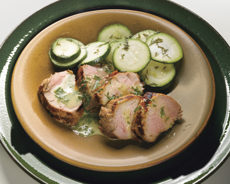 Grilled Pork Tenderloin with Mustard-Dill Sauce