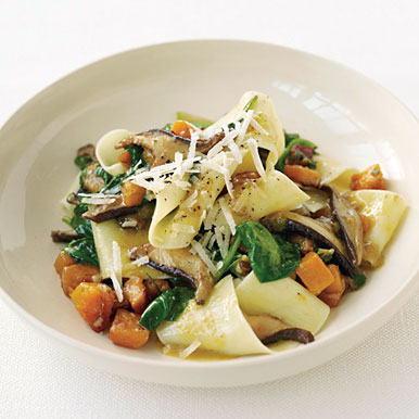 Pappardelle with Squash, Mushrooms, and Spinach