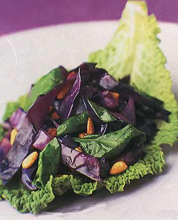 Red Cabbage and Warm Spinach Salad
