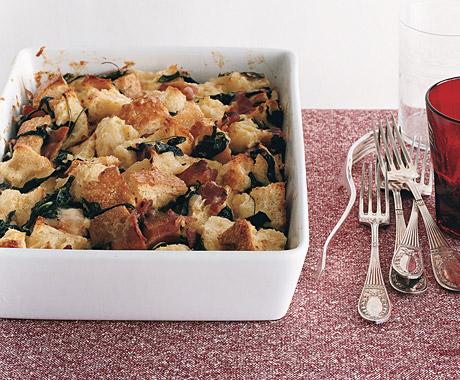 Arugula, Bacon, and Gruyère Bread Pudding