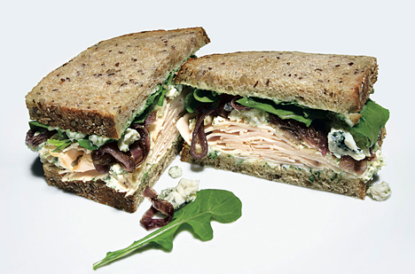 Smoked Turkey, Blue Cheese, and Red Onion Sandwiches