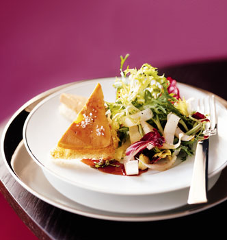 Foie Gras Toasts with Greens and Verjus Port Glaze