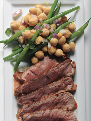 Rib-Eye Steaks with Garbanzo and Green Bean Salad