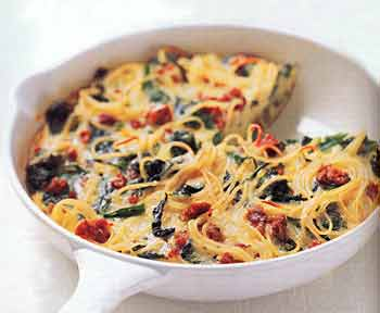 Spaghetti Pie with Broccoli Rabe