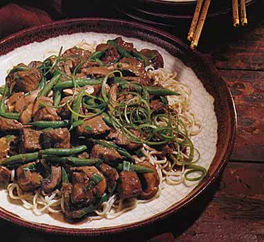 Hoisin-Braised Pork, Mushrooms and Green Beans on Noodles