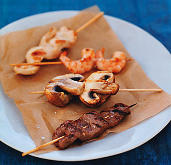 Grilled Beef, Chicken, Shrimp, and Mushroom Skewers