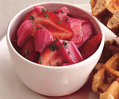 Rhubarb and Strawberry Compote with Fresh Mint