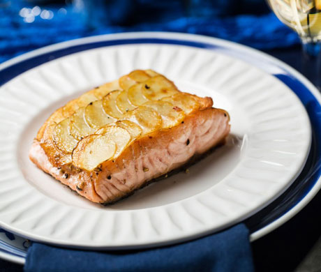 "Salmon with Potato ""Scales"""