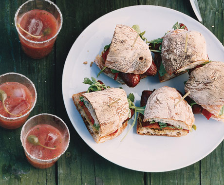 Sausage, Arugula, and Piquillo Pepper Sandwiches
