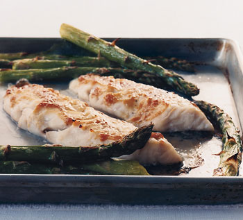 Miso-Glazed Sea Bass with Asparagus
