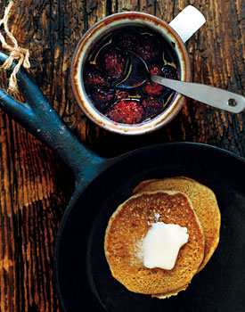 Whole-Wheat Pancakes with Blackberry Syrup