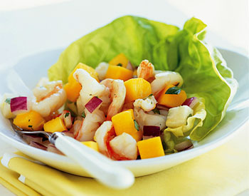 Shrimp, Mango, and Jícama Salad with Pineapple Vinaigrette