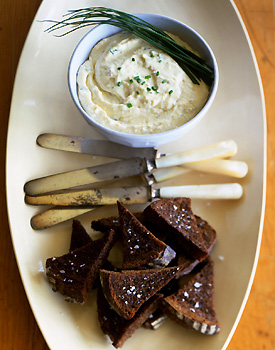 Camembert Caraway Spread on Pumpernickel Toasts
