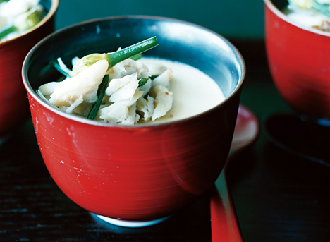 Steamed Egg Custard with Blue Crab and Flowering Chives