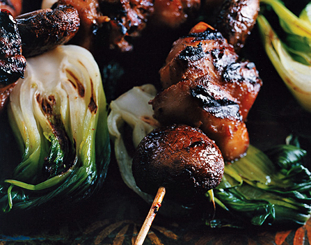 Chicken, Mushroom, and Bok Choy Kebabs