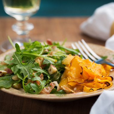 Roasted Butternut Squash Ribbons with Arugula, Pancetta, and Hazelnut Salad