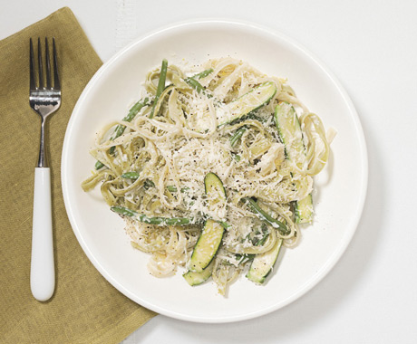 Tagliatelle with Baby Vegetables and Lemon-Parmesan Sauce