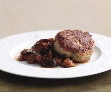 Veal Cakes on Silky Eggplant