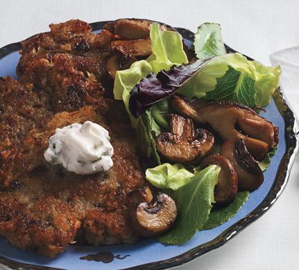 """Porcini Mushroom Latkes with Mushroom Salad and Chive """"Cream"""""""