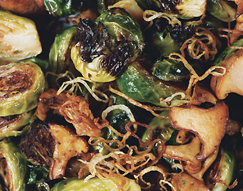 Brussels Sprouts with Shallots and Wild Mushrooms
