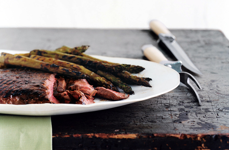 Grilled Glazed Steak and Asparagus