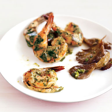 Roasted Shrimp and Mushrooms with Ginger and Green Onions