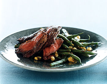 Skirt Steak with Haricots Verts, Corn, and Pesto