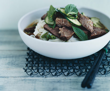 Southeast Asian Beef and Rice-Noodle Soup