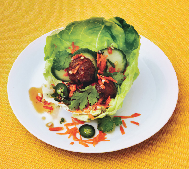 Pork and Lemongrass Meatballs in Lettuce Cups