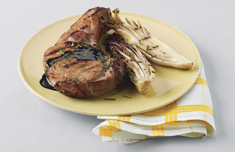 Quick-Brined Grilled Pork Chops with Treviso and Balsamic Glaze