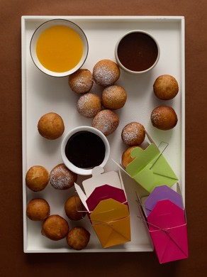 Bomboloni with Chocolate Espresso, Whisky Caramel, and Clementine Sauces