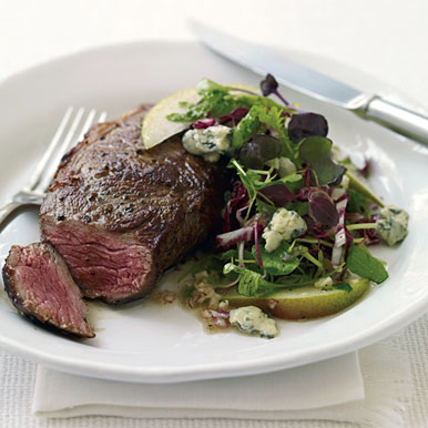 Rib-Eye Steaks with Radicchio, Pear, and Blue Cheese Salad