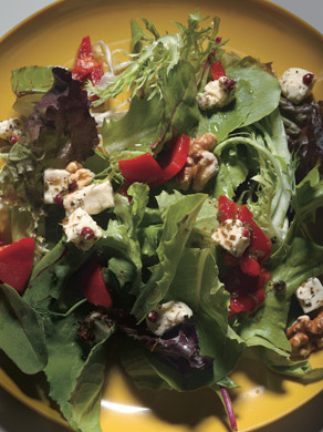 Herb Salad with Feta, Roasted Red Peppers, and Toasted Nuts
