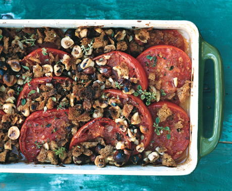 Baked Tomatoes with Hazelnut Bread Crumbs
