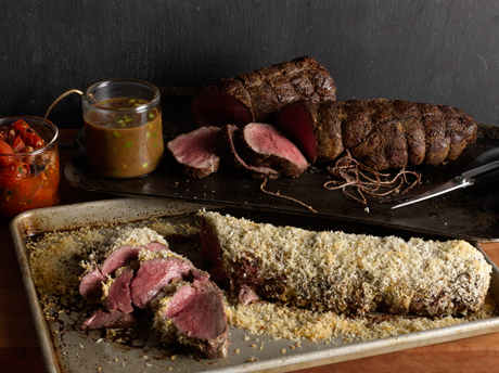 Rosemary-Crumb Beef Tenderloin with Pancetta-Roasted Tomatoes