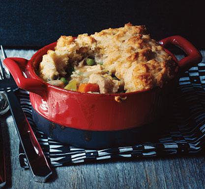 Turkey Potpie with Cheddar Biscuit Crust